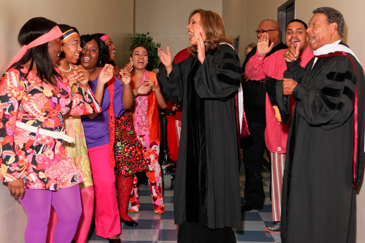 The UMES Gospel Choir joins 2012 Gala guests Marilyn McCoo and Billy Davis Jr. in song