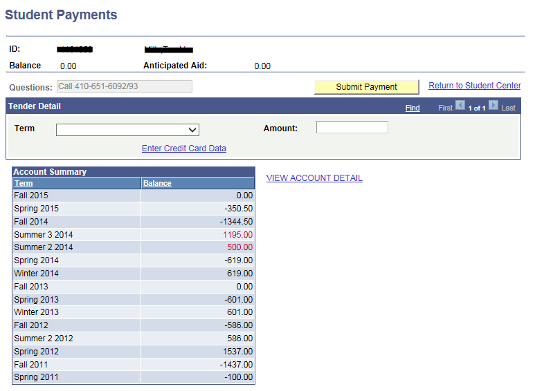 Student Account Payment Example